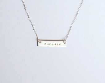 Silver bar namaste necklace