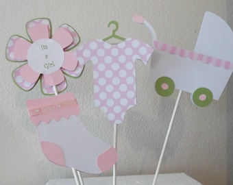 It's a Girl Cake Topper Set -  Baby Girl Shower Decorations -  Set of 4 Baby Girl Cake Toppers-Baby Girl Shower Centerpieces