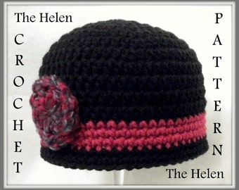 Crochet PATTERN Baby Hat PATTERN The Helen Flapper Hat Cloche Pattern Hat Pattern Crochet Pattern Baby Hat Pattern Crochet Cloche Pattern