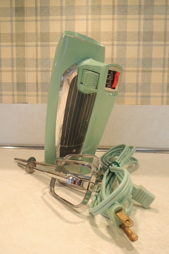 Electric Hand Mixers Kitchen ~ Vintage ge electric hand mixer turquoise m speed