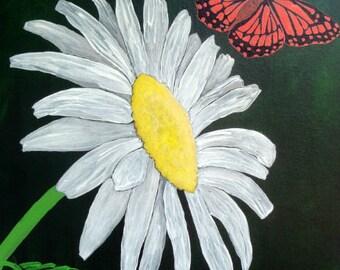 """Daisy Monarch Butterfly Art - """"Grace"""""""