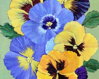 """Pansy Floral Art - """"Hurrah for the Yellow & Blue"""""""