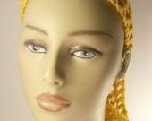 Crochet headband in gold / Mesh tie headband / Ready To Ship / Hair Accessory / Tie headband