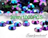 3mm/1000pcs Purple AB color Flatback Rhinestone Crystal accessories material supplies