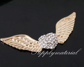 1pcs Golden Crystal Angel wings Flatback Alloy jewelry Accessories materials supplies