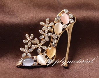1pcs Bling Crystal High-heeled shoes Alloy jewelry accessories materials supplies