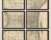 Old Philadelphia Map Art Print 1830 Antique Map Archival Reproduction - Set of 6 Prints