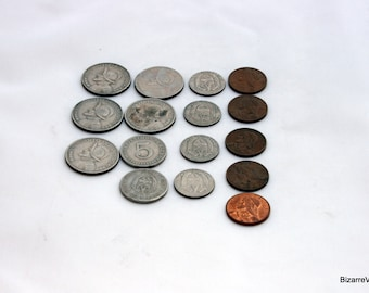 Coins for Crafting, Assorted Vintage, Panama Central America Money, Jewelry Making Hobby Supply, Collection Rustic Metal Silver Copper