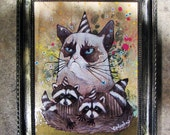 grumpy cat party, Original art, art by phresha, cat painting, grumpy cat art, racoon art