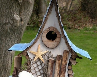 bird house, Nautical birdhouse, functional birdhouse, beach art, garden art, in color options, custom birdhouse, gift, beach decor