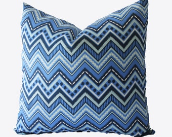 Decorative Blue, Chevron Zig Zag, Outdoor Pillow Cover, 18x18, 20x20, 22x22 or Lumbar Throw Pillow