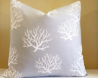 Grey Coral Pillow Cover - Customize your pillow cover - Nautical Home Decorations - Coastal Living - Solid back or coral fabric both sides