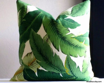 Outdoor Printed Palm leaf Pillow, Tommy Bahama green palm pillow cover, all sizes available. fabric both sides. beach house decor