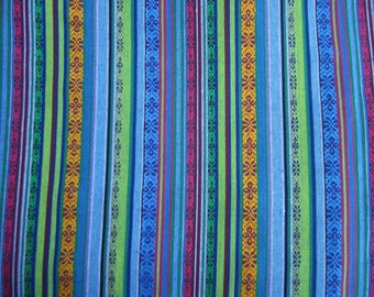 Extra Wide 60 Cotton Fabric In Turquoise Blue Yellow Pink