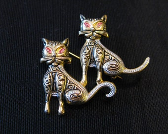 Damascene Jewelry, Vintage Spain Brooch Souvenir Cats Lover Pins