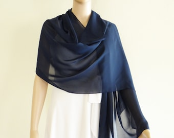 Navy Blue Wrap Scarf. Navy Blue Long Scarf. Soft Chiffon Shawl. Navy Blue Shawl.