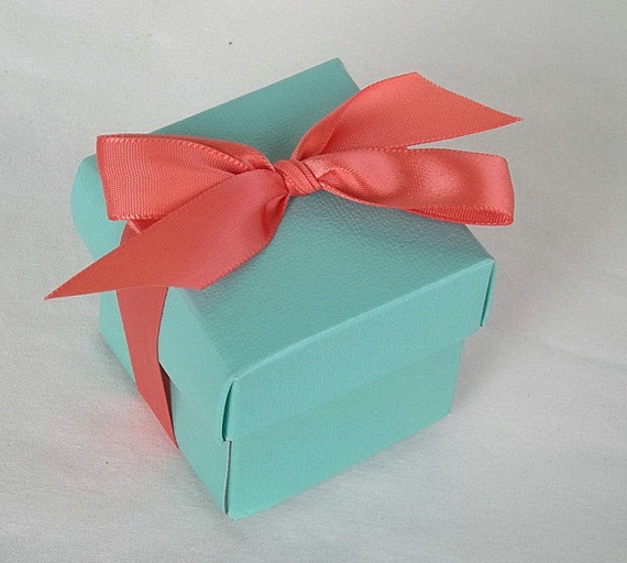 Aqua Wedding Favor Boxes : Items similar to favor boxes aqua blue teal coral