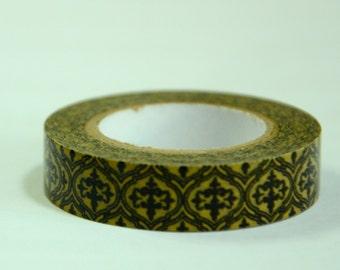 1 Roll of Japanese Washi Masking Tape (10mm x 8m) - Golden brown flower Motif