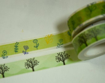 2 Rolls of Japanese Washi Masking Paper Tape- Tree and Flower