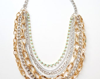 Layered Necklace mint statement necklace gold bridal necklace silver ROYALS