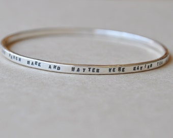 Mad Hatters Tea Party quote bangle in sterling silver
