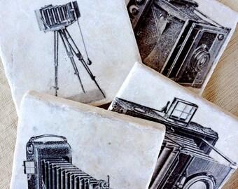Camera Decor- Coasters, Photographer Gift, Vintage Camera, Box Camera, Camera Gift, Antique Camera, Camera Tile, Stone, Photographer Decor