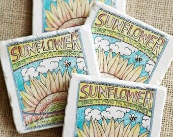 Sunflower Decor- Sunflower Gift, Summer Coaster, Sunflower Coaster, Sunflower Tile, Drink Coaster, Stone Coaster, Coaster, Flower Decor