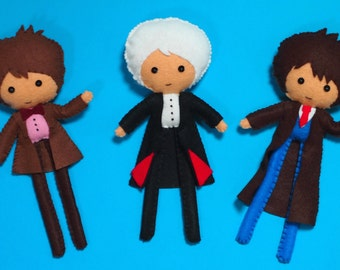 Doctor Who Inspired Felt Figure - Your Choice of Doctor Made to Order