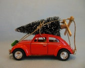 Classic RED VW Beetle Car with Christmas Tree ~Volkswagen ~ Toy Car Christma Ornament ~ I'll Be Home For Christmas
