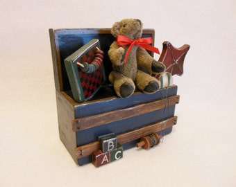 Old Fashioned Teddy Bear and Wooden Trunk  ~ Teddy Bear Wall Art ~ Wooden Toy Box filled with Childhood Memories ~ Toy Box  ~ Teddy Bear