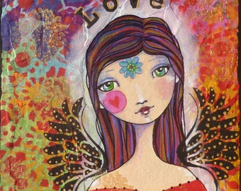 LOVE archival inks art print colorful art inspirational art angel wings fly flower heart mixed media collage acrylic painting colored pencil