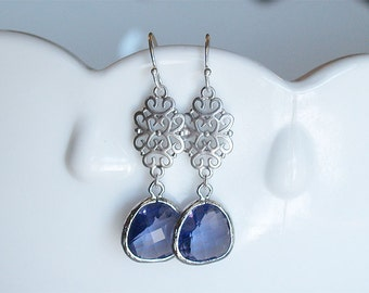 Tanzanite and Silver Dangle Earrings - Dainty Purple Drops and Filigree 925 Sterling Wire,Brides,Bridesmaid Earrings, Wedding