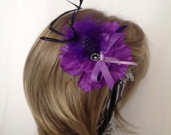 Purple Passion Flower & Feather Hair Accessory