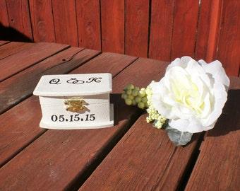 Personalized Ring Bearer Box, Wedding decor, Country Barrn Wedding, Shabby Chic Wedding