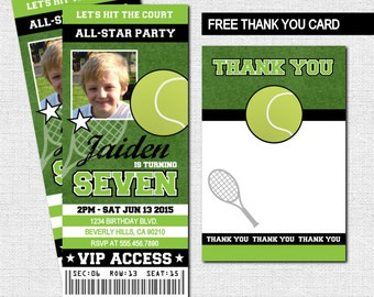 TENNIS TICKET INVITATIONS Birthday Party + Thank You Card (print your own) Personalized Printable - Large Ticket
