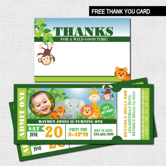 ZOO TICKET INVITATIONS Birthday Safari Party Bonus Thank You