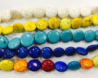 12mm coin howlite beads, 32 beads