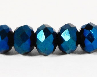 Rondelle Crystal Beads 3x2mm (2x3mm) Metallic Blue Tiny Faceted Chinese Crystal Glass Spacer Beads for Jewelry Making 100 Loose Beads