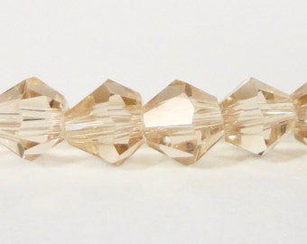 Bicone Crystal Beads 4mm Sand Taupe Small Faceted Chinese Crystal Glass Beads for Jewelry Making 100 Loose Beads per Pack