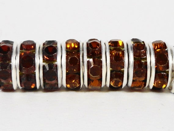 Rhinestone Rondelle Beads 8mm Root Beer Brown Silver Plated Metal Acrylic Rhinestone Crystal Spacer Beads for Jewelry Making 45 Loose Beads