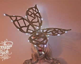 LED Butterfly headdress headpiece drag queen go go animator freak performer stage wear by Maria Luck