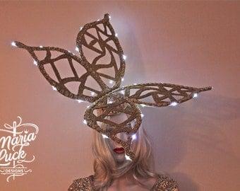 SALE LED Butterfly headdress headpiece drag queen go go animator freak performer stage wear by Maria Luck