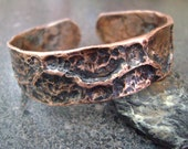 WOODLAND - Fathers Day Men's Cuff, Copper Bangle, Copper Cuff, Unisex Bangle, Copper Jewelry, Hand Forged Cuff, Gift for Dad