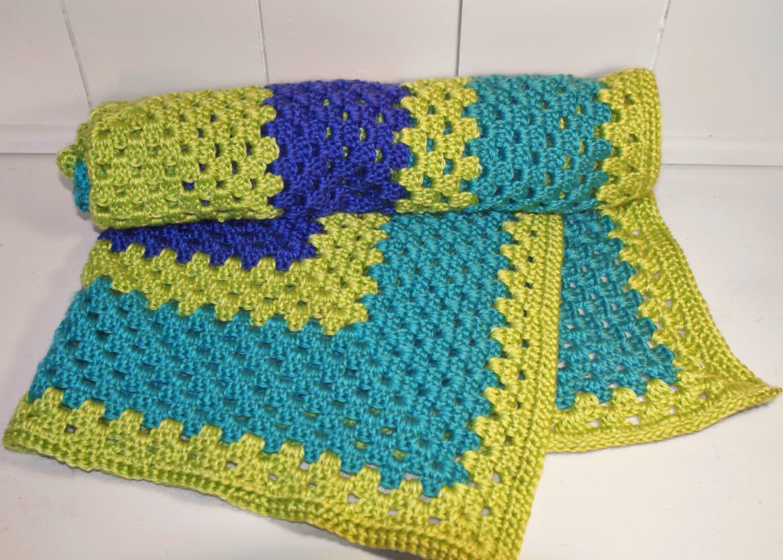 bright blue teal lime green baby blanket handcrafted. Black Bedroom Furniture Sets. Home Design Ideas