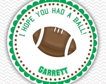 Football - Personalized Stickers, Party Favor Tags, Thank You Tags, Gift Tags, Address labels, Birthday, Baby Shower