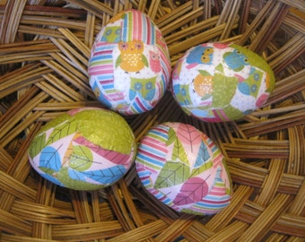 Colorful Owls Paper Mache Decoupage Easter Eggs: Set of Four