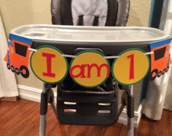 """Train """"I am 1"""" high chair banner. Primary Colors. Custom Colors Available."""