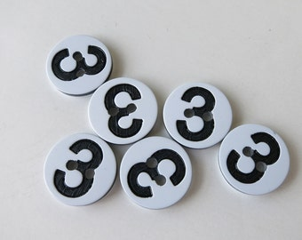 Number 3 three buttons 1/2 inch, 6 buttons