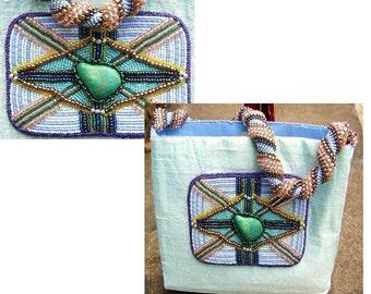 Beaded Purse, Spiral Handle, Blue Silk, Elaborate Beaded Medallion