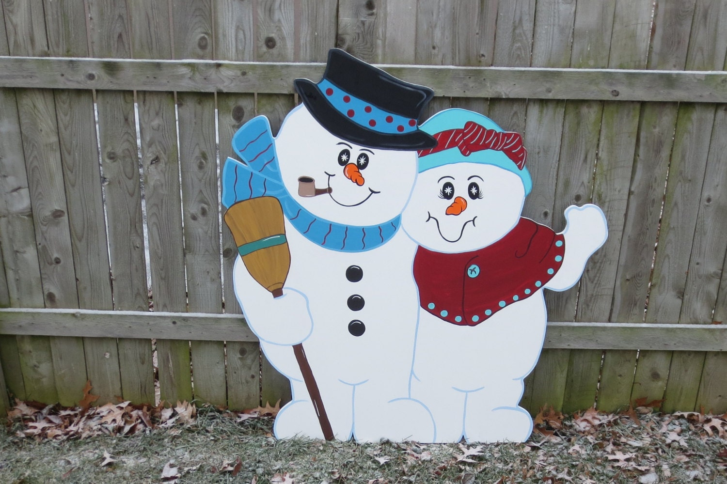 Christmas outdoor snowman couple wood yard art by Wooden outdoor christmas decorations